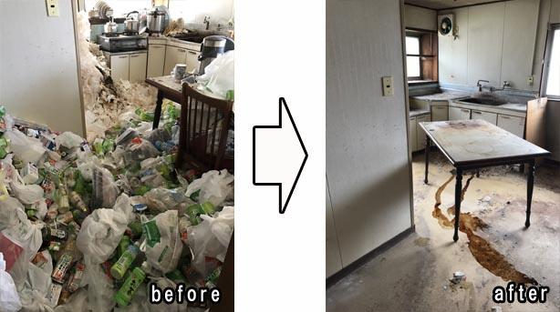 不用品回収 岐阜市I様 キッチン片付 ゴミ屋敷